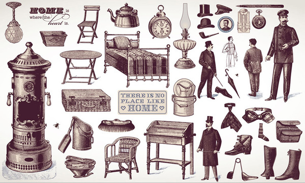 european retro characters and furniture design vector