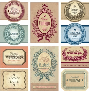 labels templates collection colored vintage design