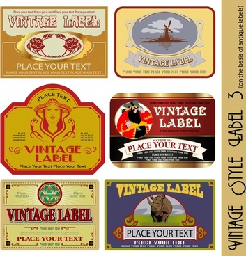 vintage label templates animal human nature windmill themes