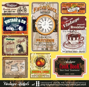 label templates collection colored vintage themes