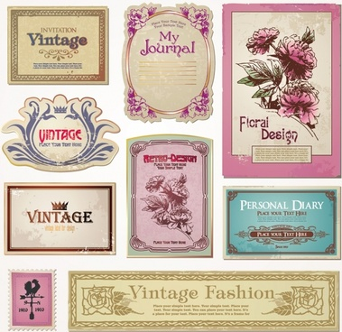 label templates retro design flowers ornament