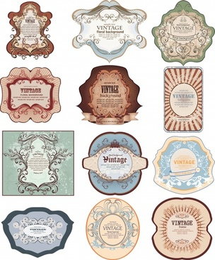 vintage labels templates elegant symmetric decor