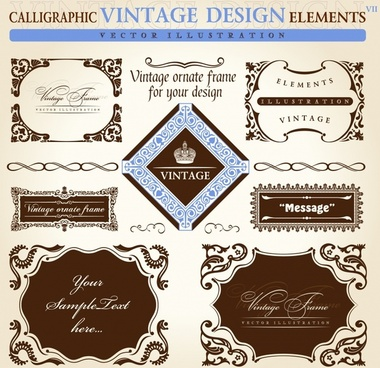 frame decorative elements collection elegant european symmetry