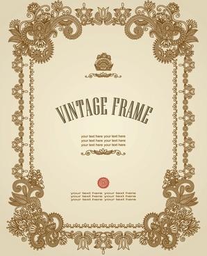 european retro pattern frame 01 vector