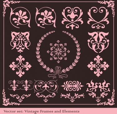 frame design elements vintage symmetrical shapes sketch