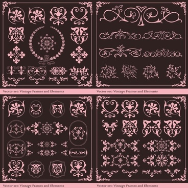european retro patterns vector