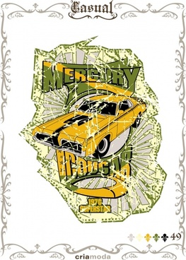 car poster colored retro sketch seamless border decor