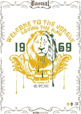 jungle advertising poster lion icon retro grunge decor