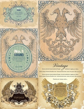 premium label templates retro european symbols symmetric decor