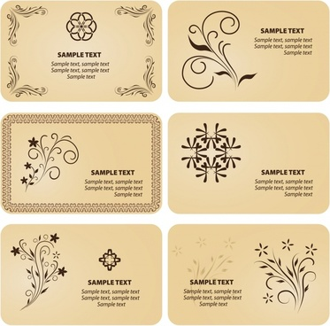 card templates classical decor curved symmetric design