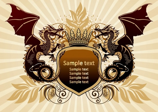 logo template vintage heraldic decor dragon shield icons