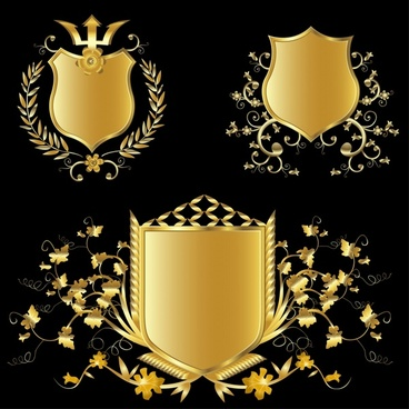 decorative shield icons luxury vintage golden decor