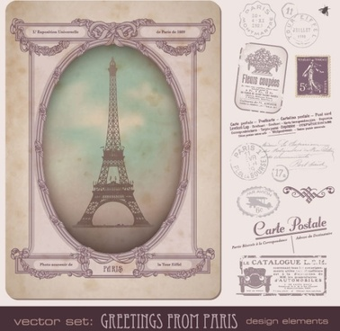 european stamps and postcards vector