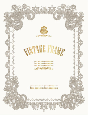 european style decorative pattern certificate template vector