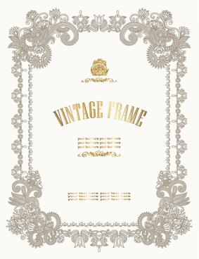 european style decorative pattern certificate template vector