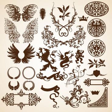 european style decorative pattern frame vector