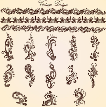 european style decorative pattern lacy vector