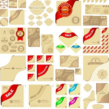 sales design elements ribbon badge templates sketch