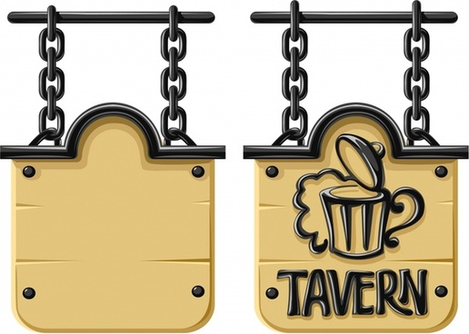 signboard template hanging chain design wooden decor