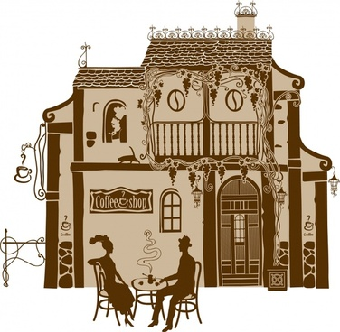 europeanstyle buildings painted line drawing vector artwork