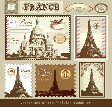europeanstyle buildings stamps 01 vector
