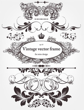 europeanstyle floral border and decorations 01 vector