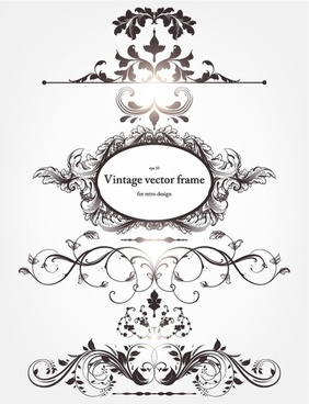 europeanstyle floral border and decorations 03 vector