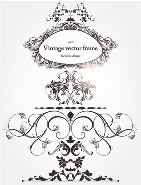 europeanstyle floral border and decorations 04 vector