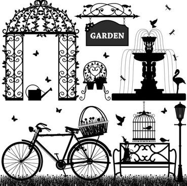 europeanstyle garden elements vector