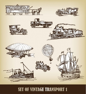 vintage transportation icons handdrawn sketch