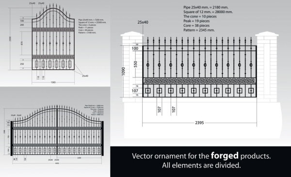 europeanstyle iron fence vector