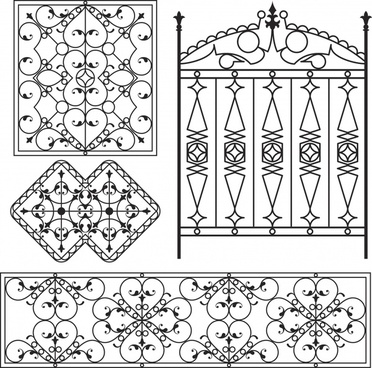 iron gate pattern templates european classical symmetric decor