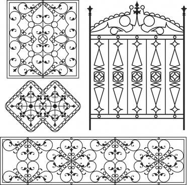 iron gate pattern templates european classical symmetric decor