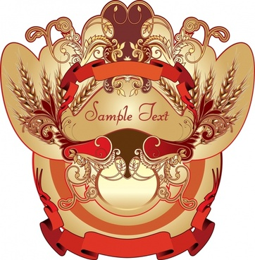 label design element vintage elegant symmetric design ribbon decor