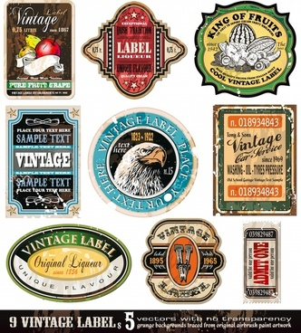 label templates colorful vintage design