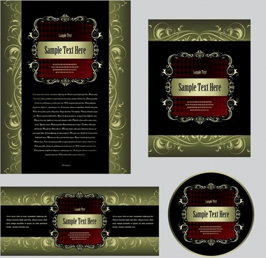 cover background templates elegant luxury dark curves decor