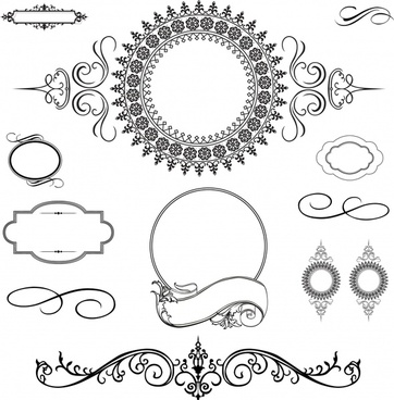 document design elements classical symmetric curves sketch