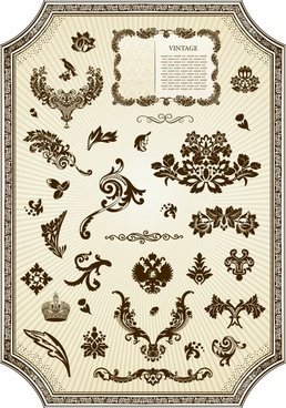frame design elements vintage symmetric curves ornament