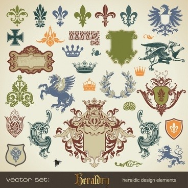 heraldic design elements retro icons