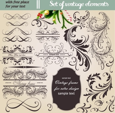documents decorative elements vintage curved feather leaves sketch