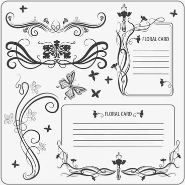 card decorative elements elegant retro symmetric curves