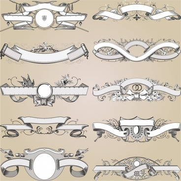 decorative ribbons templates elegant european symmetric shapes