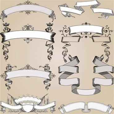 decorative ribbons templates elegant classic symmetric sketch