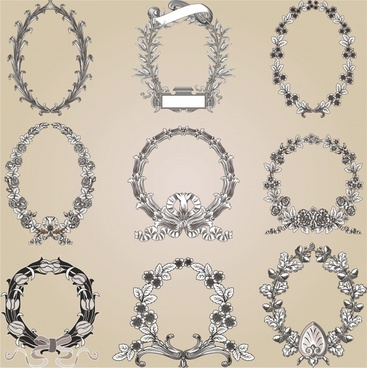 decorative laurel wreath templates classic elegant flat sketch