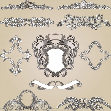 decorative elements templates elegant retro symmetric shapes