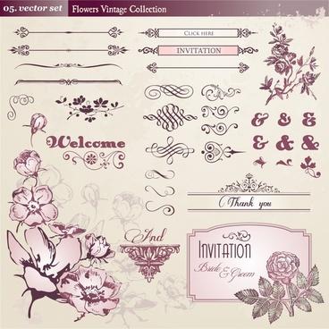 wedding decorative elements classic floral symmetric curves shapes