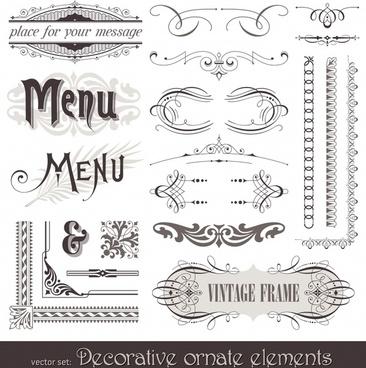 menu decor templates elegant vintage european design