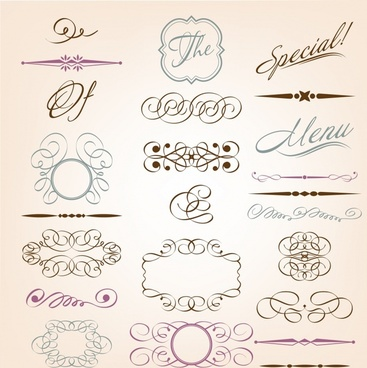 decorative elements templates elegant symmetric curves sketch