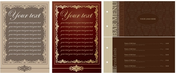 europeanstyle lace pattern vector menu templates