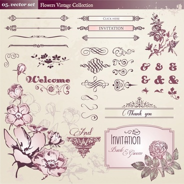 wedding decorative elements elegant vintage floras symmetric shapes